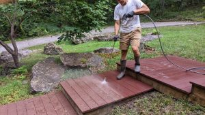 Cleaning a walkway